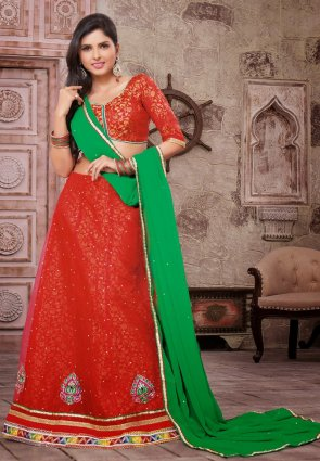 Diffusion Mesmerizing Red Lehenga Choli