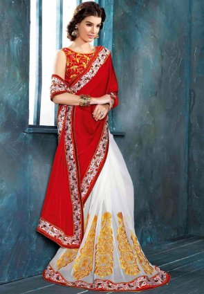 Diffusion Mesmerizing Red And White Embroidered Saree