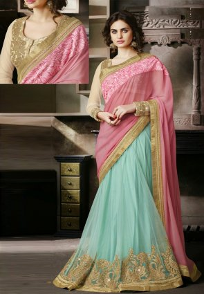 Diffusion Mesmerizing Rose Pink  And  Pale Cyan Blue Embroidered Saree