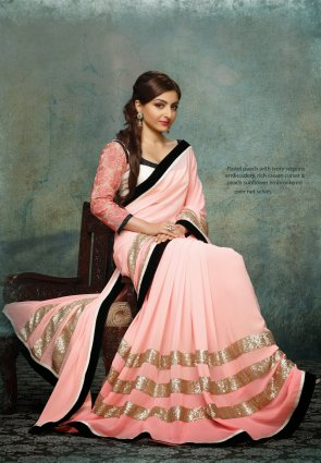 Diffusion Mesmerizing Rose Pink Embroidered Saree