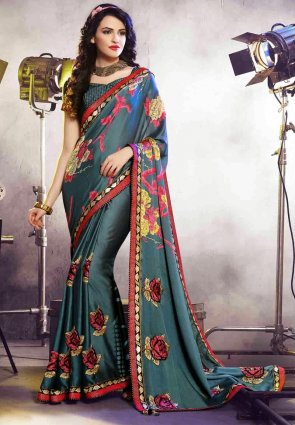 Diffusion Mesmerizing Teal Blue Embroidered Saree
