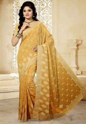 Diffusion Mesmerizing Yellow Embroidered Saree