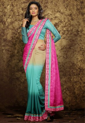 Diffusion Plushy Beige, Greenish Blue And Pink Embroidered Saree