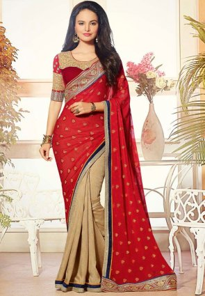 Diffusion Plushy Beige And Red Embroidered Saree