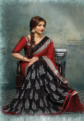 Diffusion Plushy Black And Red Embroidered Saree