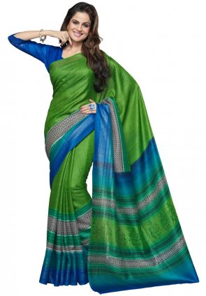 Diffusion Plushy Blue And Green Printed Saree