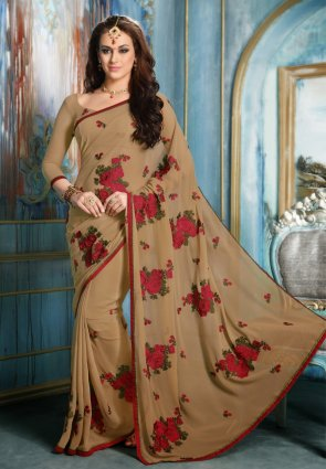 Diffusion Plushy Brown Embroidered Saree