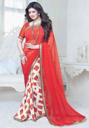 Diffusion Plushy Buttercream And Red Embroidered Saree