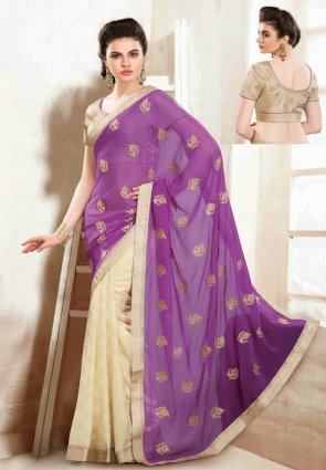 Diffusion Plushy Buttercream And Violet Embroidered Saree