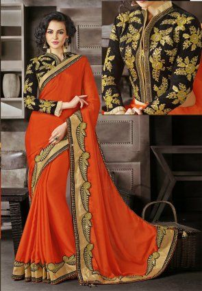 Diffusion Plushy Coral Embroidered Saree