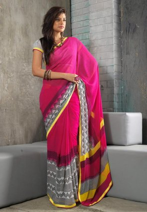 Diffusion Plushy Deep Off White And Pink Embroidered Saree