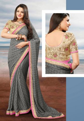 Diffusion Plushy Gray Embroidered Saree