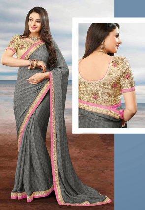 Diffusion Plushy Gray Embroidered Saree