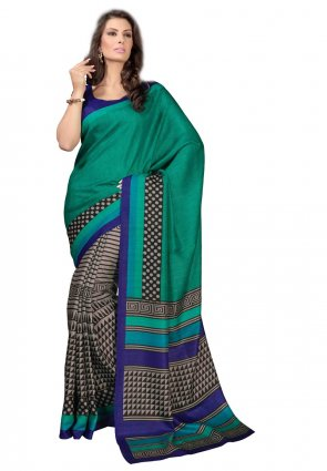 Diffusion Plushy Gray And Sea Green Printed Saree
