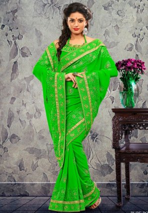 Diffusion Plushy Green Embroidered Saree