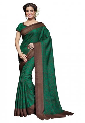 Diffusion Plushy Green And Saddle Brown Printed Saree