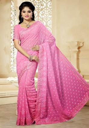 Diffusion Plushy Pink Embroidered Saree