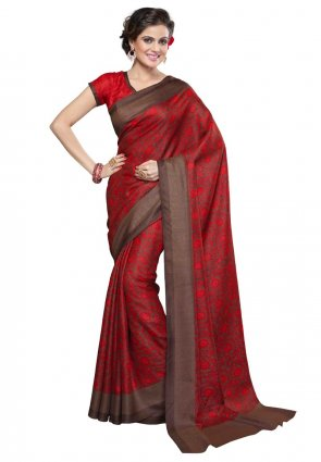 Diffusion Plushy Red And Saddle Brown Printed Saree