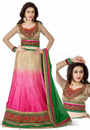 Diffusion Ravishing Beige And Pink Lehenga Choli