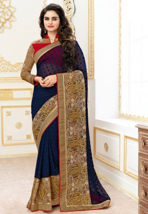 Diffusion Ravishing Blue Embroidered Saree