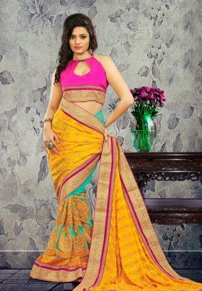 Diffusion Ravishing Cyan Blue And Orange Embroidered Saree