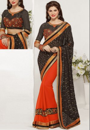 Diffusion Ravishing Deep Deep Orange And Black Embroidered Saree