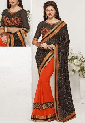 Diffusion Ravishing Deep Deep Orange And Black Embroidered Saree