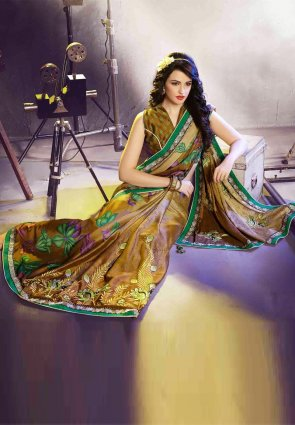 Diffusion Ravishing Gold Color Embroidered Saree