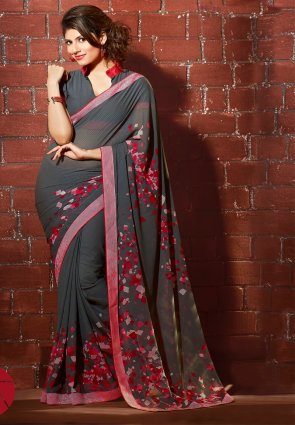 Diffusion Ravishing Gray Printed Saree