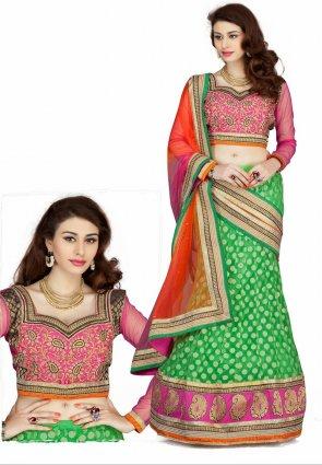 Diffusion Ravishing Green Lehenga Choli