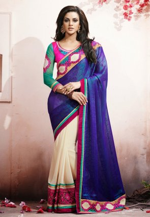 Diffusion Ravishing Ivory  And  Navy Blue Embroidered Saree