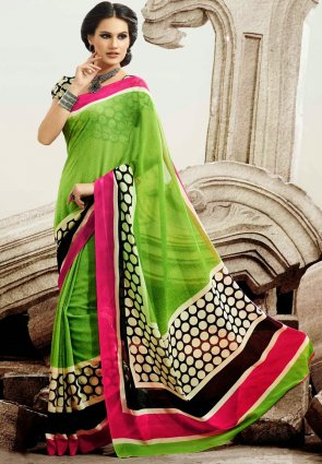 Diffusion Ravishing Lime Green Printed Saree