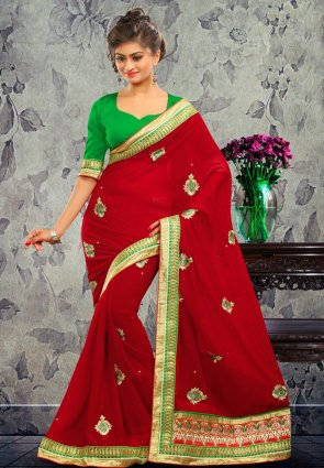 Diffusion Ravishing Maroon Embroidered Saree