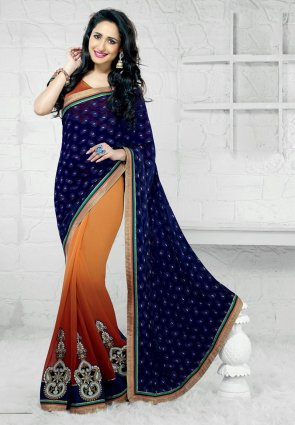 Diffusion Ravishing Navy Blue And Orange Embroidered Saree