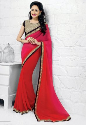 Diffusion Ravishing Pink And Red Embroidered Saree