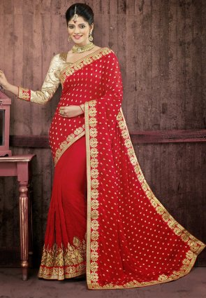 Diffusion Ravishing Red Embroidered Saree