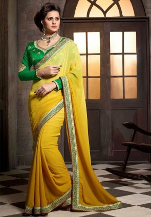 Diffusion Ravishing Yellow Embroidered Saree
