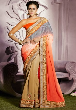 Diffusion Scintillating Beige  And  Tomato Embroidered Saree