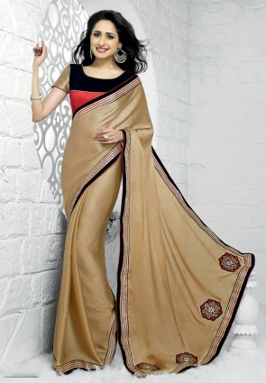 Diffusion Scintillating Beige Embroidered Saree