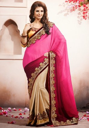 Diffusion Scintillating Beige And  Pink Embroidered Saree