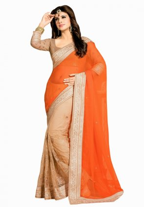 Diffusion Scintillating Beige And Deep Orange Embroidered Saree