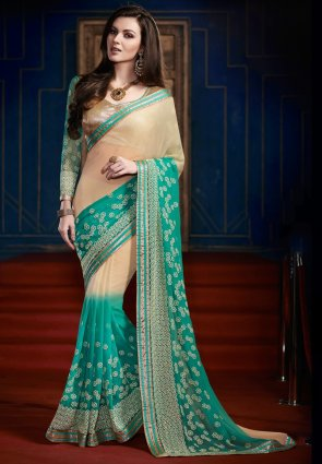 Diffusion Scintillating Beige And Greenish Blue Embroidered Saree