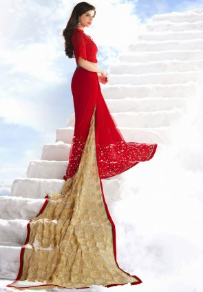 Diffusion Scintillating Beige And Red Embroidered Saree