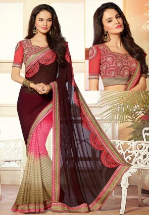 Diffusion Scintillating Beige And Saddle Brown Embroidered Saree