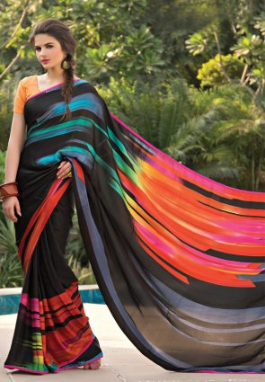 Diffusion Scintillating Black And Red Printed Saree