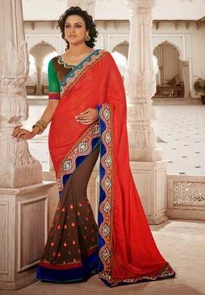 Diffusion Scintillating Brown  And  Red Embroidered Saree