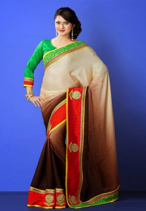 Diffusion Scintillating Brown And Buttercream Embroidered Saree