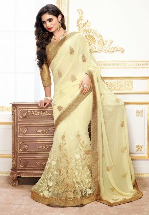 Diffusion Scintillating Buttercream Embroidered Saree