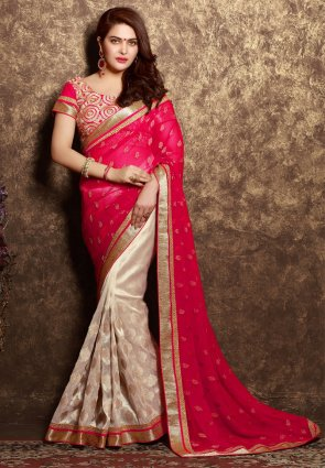 Diffusion Scintillating Gold Color And Red Embroidered Saree