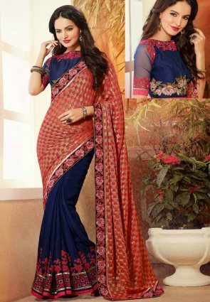 Diffusion Scintillating Navy Blue And Red Embroidered Saree